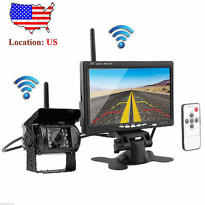 "7"" Monitor +Wireless IR Rear View Backup Camera Night Vision"