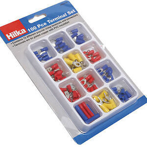 Electrical Crimp Ring Spade Connectors/ Hilka Insulated Wire Terminals Set 100pc
