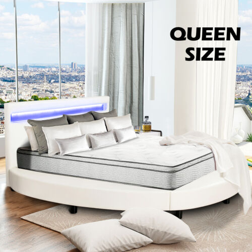 Queen Size Faux Leather Upholstered Round Platform Metal Bed