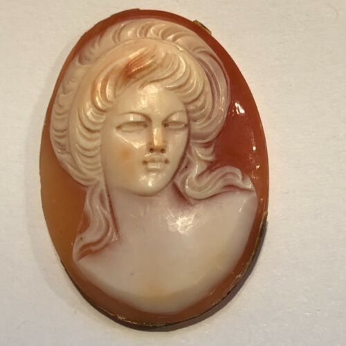 Antique FRONT FACING GORGEOUS HAND CARVED SHELL CAMEO SIGNED