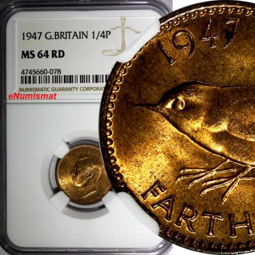 Great Britain George VI Bronze 1947 Farthing NGC MS64 RD FULL RED TONING KM# 843