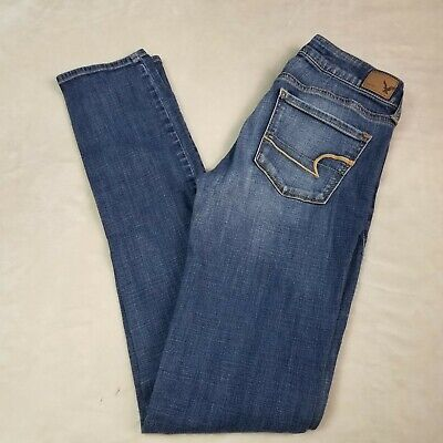 Cotton Extra Long Jeans (American Eagle 4 Skinny Extra Long Medium Wash Cotton Blend Jeans )