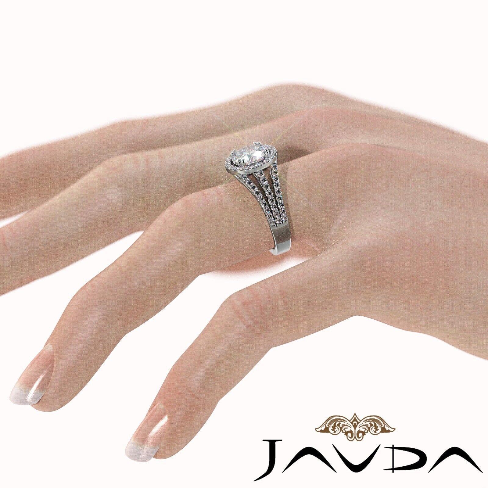 2ct Trio Shank Halo Sidestone Round Diamond Engagement Ring GIA E-VS2 White Gold 4