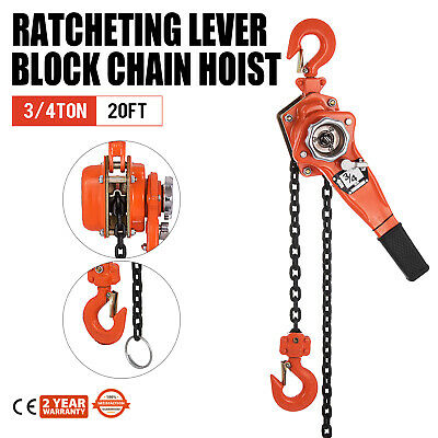 34 Ton Ratcheting Lever Block Chain Hoist Come Along 20 Foot Chain