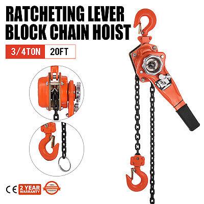 34 Ton Ratcheting Lever Block Chain Hoist Come Along 20 Foot Chain