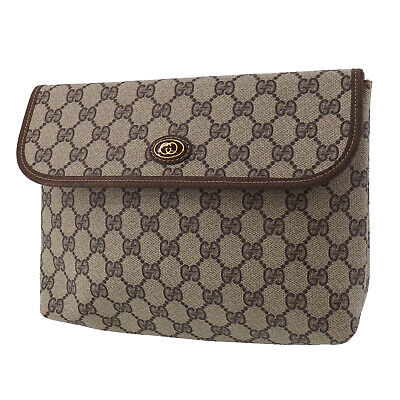 GUCCI GG Plus Clutch Pouch Brown PVC Leather Italy Vintage Authentic #UU150 O