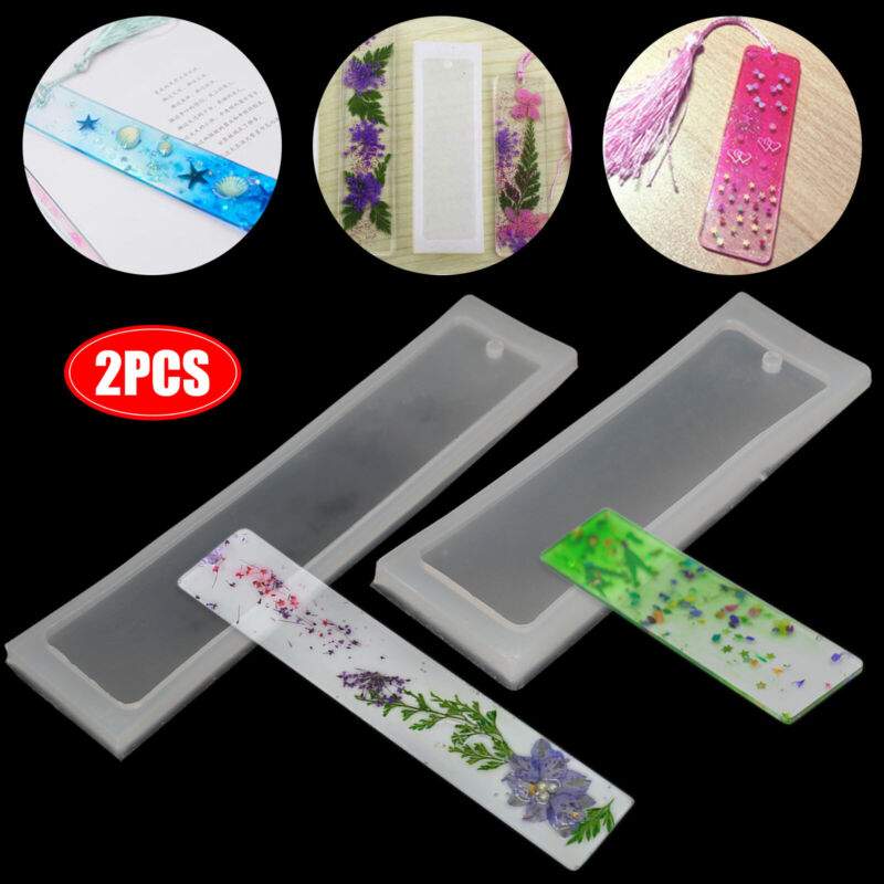 Silicone Epoxy Resin Mold Bookmark DIY Jewelry Making Tool Mould Rectangle Craft