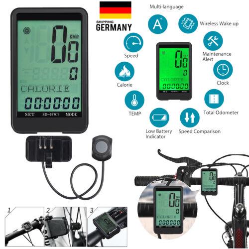 Funk Fahrradcomputer Fahrradtacho LCD Radcomputer Bike Fahrrad Tacho kabellos DE