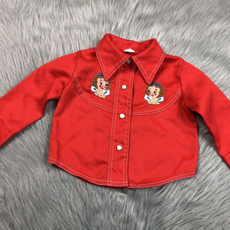 Vintage Disney Snow White Red Snap Up Embrodiered Western Shirt Baby