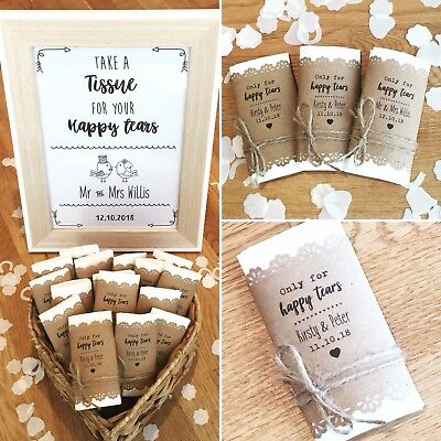 Happy Tears Wedding Tissues! Personalised Wedding Tissues! Wedding Favours! (Happy Tears)
