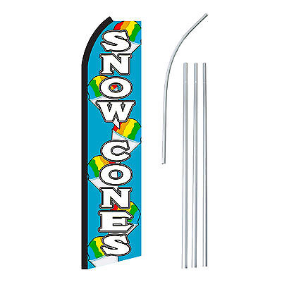 Snow Cones Blwht - Advertising Sign Swooper Feather Banner Flag Pole Only