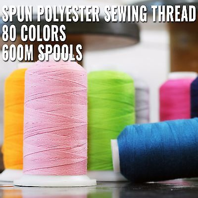 SPUN POLYESTER SEWING THREAD - 50/3 - 600M - 80 COLORS AVAILABLE - - Polyester Sewing Thread