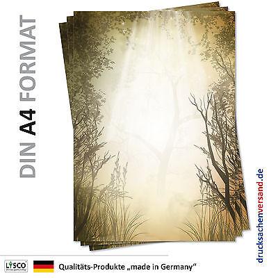 25 Blatt Motivpapier-5119 DIN A4 Wald Briefpapier Lichtung Sonne Bäume Natur