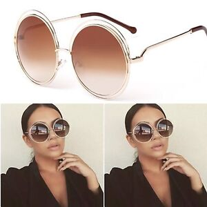 Oversized Round Circle Lens Gold And Brown Ombre Sunglasses Retro Vintage Hippy
