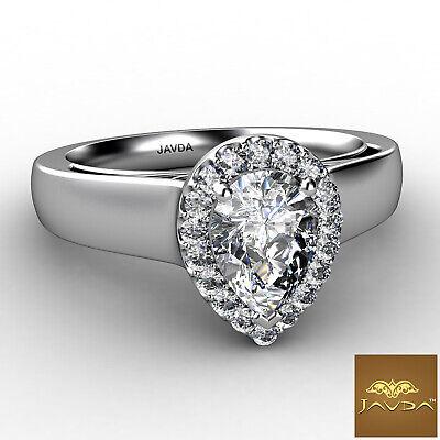 Halo Filigree Shank Pear Shape Diamond Engagement Ring GIA E Clarity VS1 0.92Ct  1