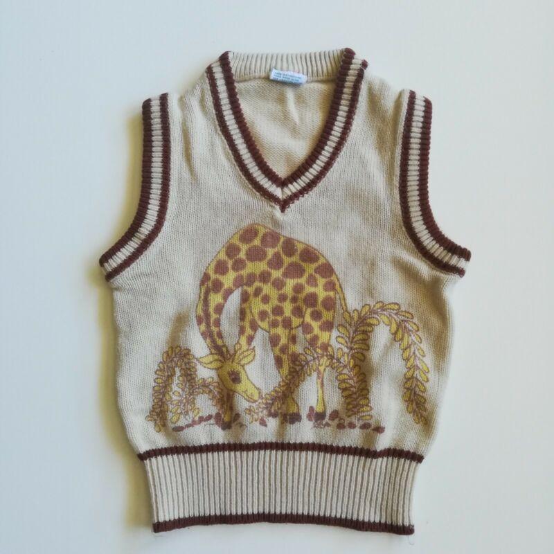 Vintage 1960s 1970s Boys Acrylic Knit Sweater Vest Giraffe Size 6 8 Medium