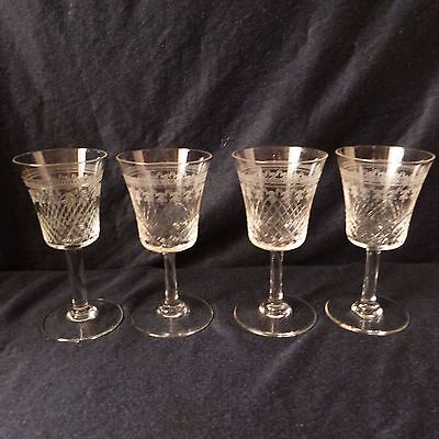 set of 4 vodka cognac whisky glasses crystal fine cut glass clear