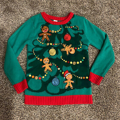 Girls M 10/12 Ugly Christmas Holiday Sweater Jumper Gingerbread Tree Sequins