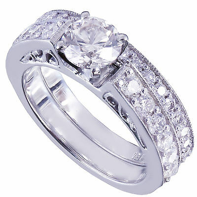 GIA H-SI1 14k White Gold Round Cut Diamond Engagement Ring And Band Deco 1.45ctw
