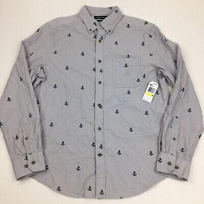 Nautica Men's Button Front Classic Fit Corduroy Anchor Print Long Sleeve Grey