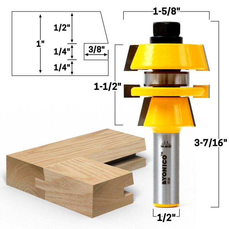 """Shaker Stacked Rail and Stile Router Bit - 1/2"""" Shank - Yonico 12124"""