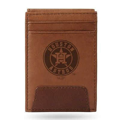 Houston Astros  - MLB - Brown Leather Money Clip Front Pocket Wallet (Leather Mlb Wallet)