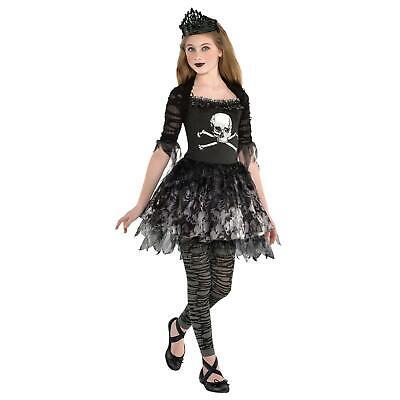 Mädchen Zombie Prinzessin Gothik Halloween Kostüm Krone Totenkopf Skelett ()