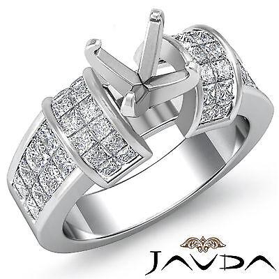 Diamond Wedding Invisible Set Ring Platinum 950 Multi Shape Semi Mount - Semi Mounted Set Ring