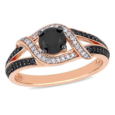 Amour 10k Rose Gold with Black Rhodium Black & White Diamond Engagement (Rose Gold Ring With Black And White Diamonds)