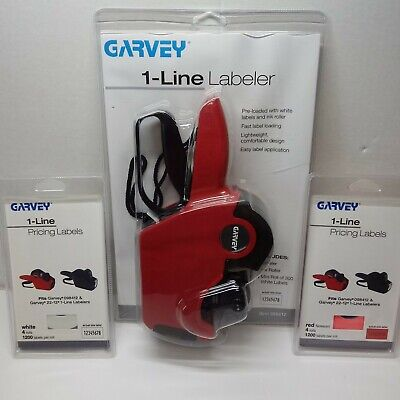 New Garvey 1-line Labeler 098412 1 Pack Each White And Red Labels Price Gun