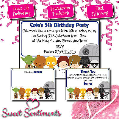 Personalised Star Wars  Party Birthday Invitations, invites, Boys Girls, Kids 12