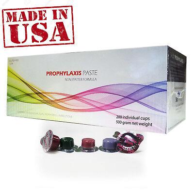 Dental Prophy Paste 200 Cups Prophylaxis Non Splatter Formula Med Grit Raspberry