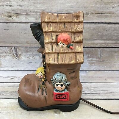 Vintage Ceramic Old Woman Who Lived In A Shoe Childrens Lamp Nightlight