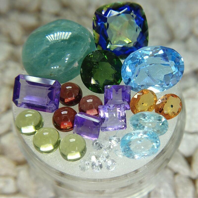 Gemstone Lot Quartz Topaz Grandidierite Diopside Garnet Sapphire Zircon Amethyst