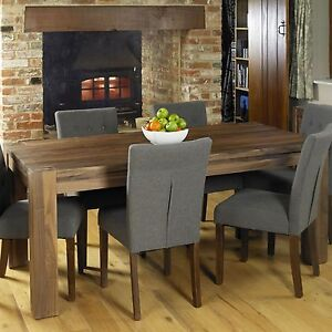 solid walnut dark wood dining room furniture six seater dining table
