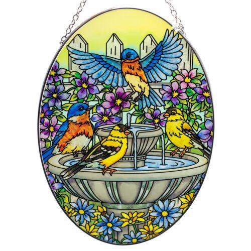 "Goldfinch Bluebirds Suncatcher Hand Painted Glass By AMIA Studios 8.75"" x 6.5"""