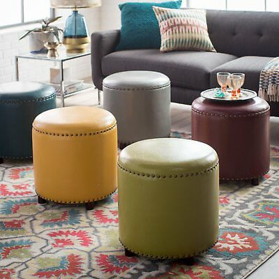 Contemporary Living Bonded Leather Round Ottoman Footstool Nailhead Accents ()
