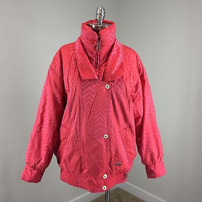 Bogner Vintage Pink Coral Chevron Winter Coat Snow Ski L - Bogner Winter Coat