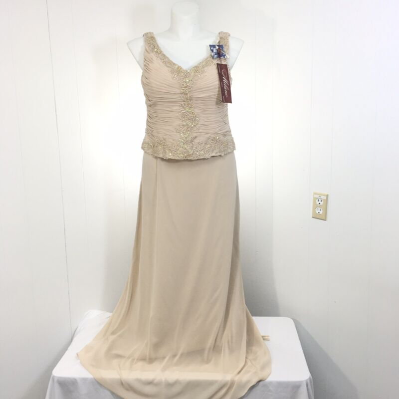 Milano Mother of the Bride Formal Gown Champagne 14 Evening Retail $149