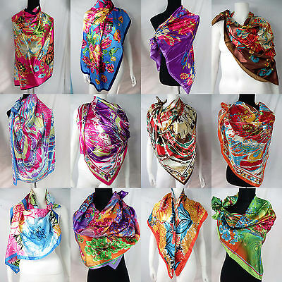 US SELLER-lot of 5 floral retro bohemian large satin 39 inches square scarves