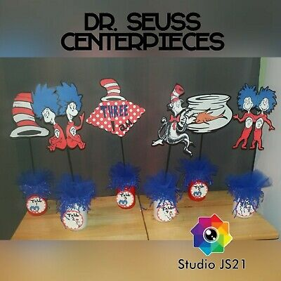 Dr Seuss Centerpieces (Six Dr. Seuss Centerpieces Cat In The Hat Party Birthday Baby Shower)