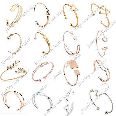 Bracelet - Lots Fashion Women Gold Silver Punk Cuff Bracelet Bangle Chain Wristband Jewelry