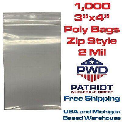 1000 - 3x4 Zip Plastic Poly Clear Bags 2 Mil - Reclosable Meets Fda Standards