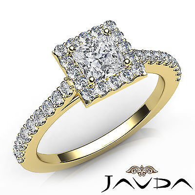 French U Pave Halo Princess Diamond Engagement Anniversary Ring GIA F VS1 1 Ct