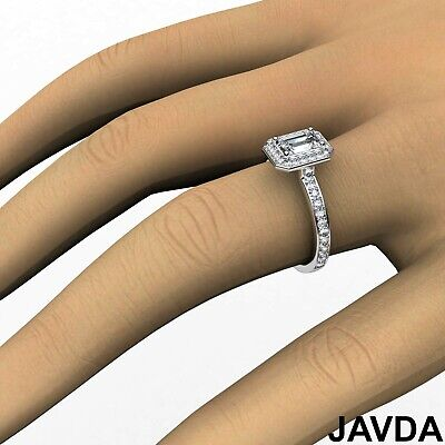 Emerald Cut Halo Pave Set Diamond Engagement Ring GIA G VS1 Platinum 950 0.95Ct 6