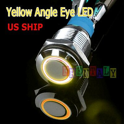 Durable 12v Led 16mm Car Momentary Push Button Amber Angel Eye Metal Switch
