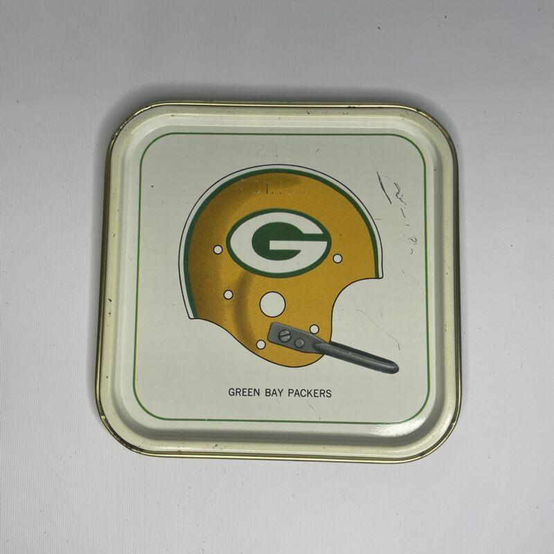 "Vintage 1965 Hormel 4 3/8"" NFL Green Bay Packers Single Bar Helmet Tin Tray"