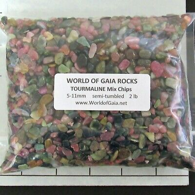 TOURMALINE MIX Chips tumbled 5-11mm 2 lb bulk stones pink green black SAVE 20%
