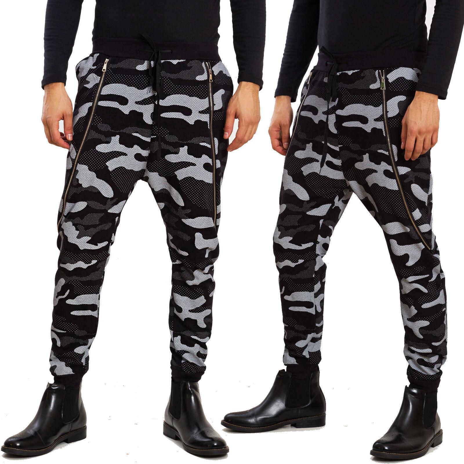 Dettagli su Pantaloni uomo tuta cavallo basso harem turca militari mimetici TOOCOOL 25502