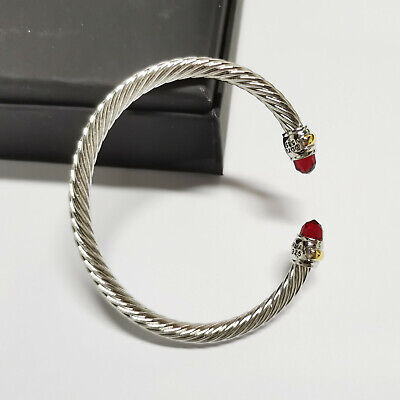 David Yurman 925 Sterling Silver with 14k Gold 5mm Cable Bracelet Red Topaz